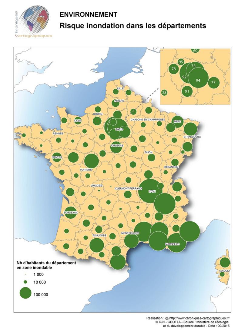 Carte de France montrant les risques d'inondation par département