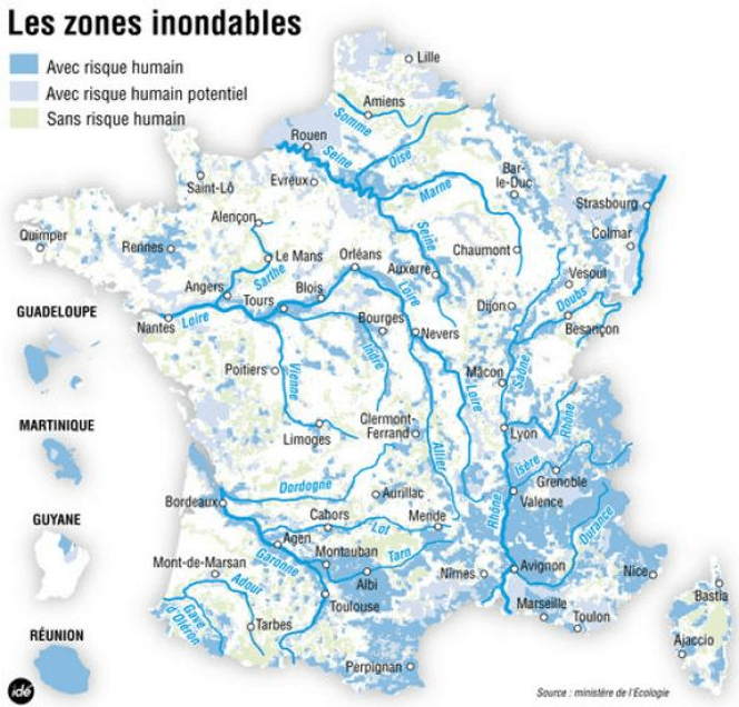 Carte de France des zones inondables