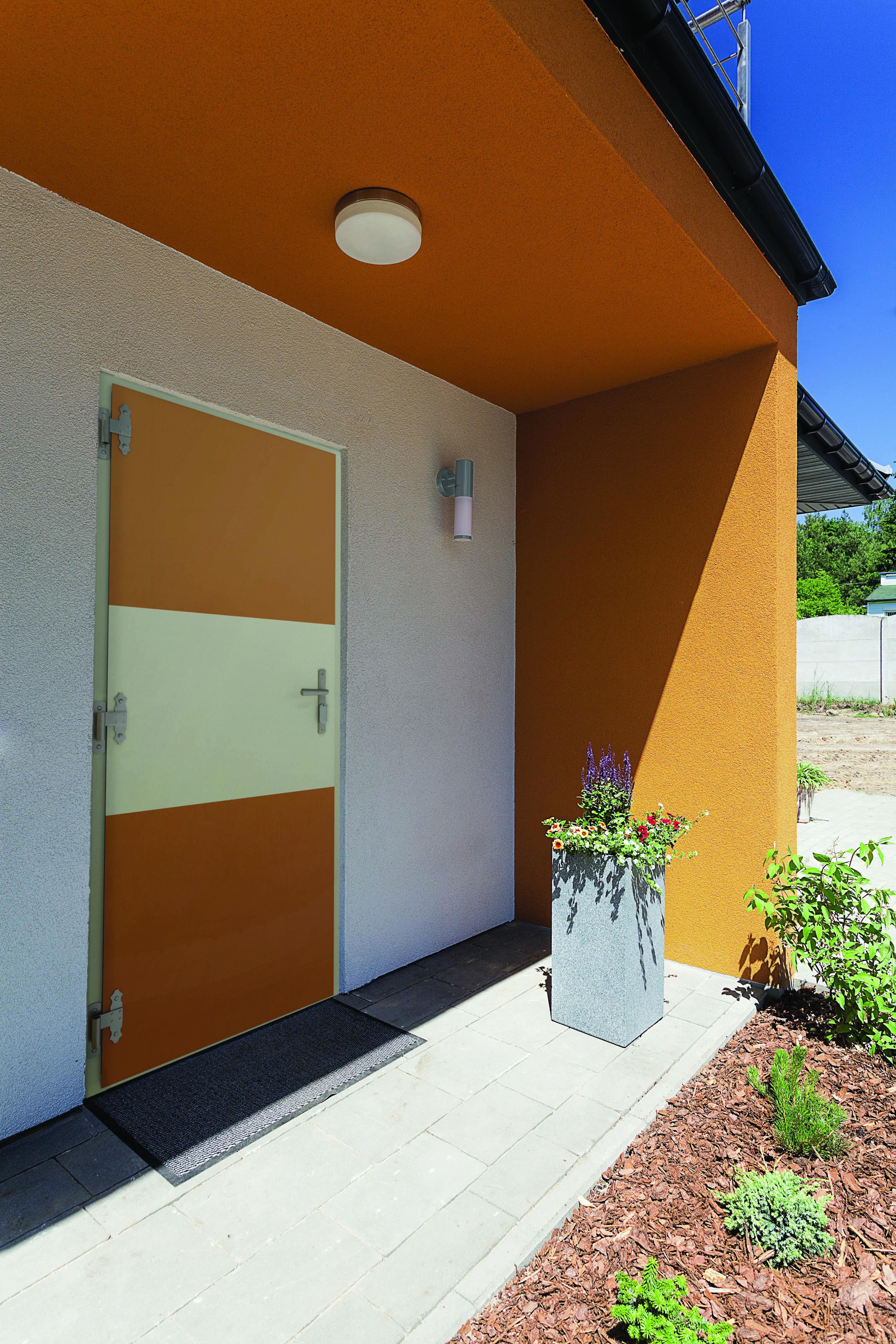 Porte SEDIPEC Noé orange avec bandeau blanc au milieu