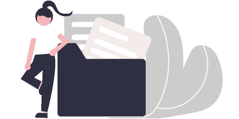 Illustration représentant une femme accoudée à dossier informatique contenant des fichiers