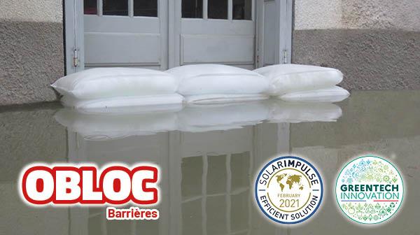 ouverture protégée par des sacs anti-inondation
